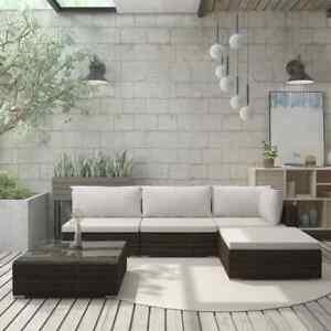 vidaXL Mobilier de Jardin 5 pcs avec Coussins Résine Tressée Marron Extérieur