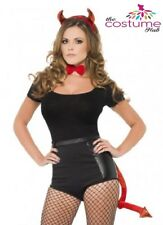 Sexy Womens Red Devil Kit Horns and Tail Halloween Costume