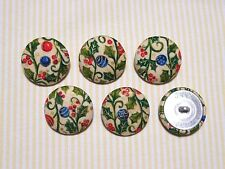6 Christmas Ball (Christmas Ornament) Fabric Covered Buttons - Blue (30mm)