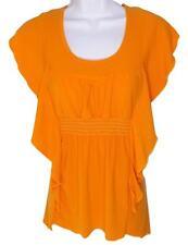 Medium Orange Scrunch Waist Kimono Dolman Woman Soft Tie Back Shirt