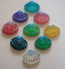 SHELL Sea Shell  Embellishment Resin Flat back 20mm Mixed Sparkle