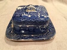 "Blue WIllow China RARE  Ventage made in Japan Covered Butter Dish. 5"" square."