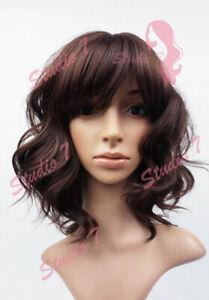 W103 Dark Brown Shoulder Length Wavy Ladies Wig Natural Look - studio7-uk