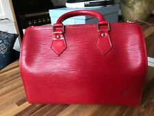 Louis Vuitton Speedy 25 Handbag. Red Damier leather.