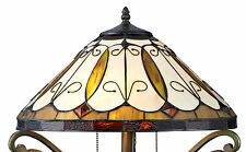 """Tiffany Style Stained Glass Amber Arroyo Floor Lamp 18"""" Shade"""