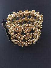 INC International Gold Tone Crystal Flowers Bracelet Size Medium