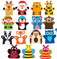 Childrens Kids Crafting Kit Set Craft Pack Sewing Felt Hand Puppet Puppets