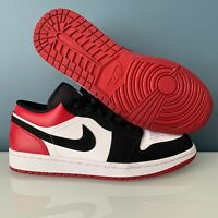 Mens Jordan 1 Retro Low Shoes Size 9 / White Black-Gym Red Black Toe 553558-116