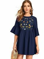 Floerns Women's Embroidered Floral Bell Sleeve A Line Tunic, Navy, Size Small fg