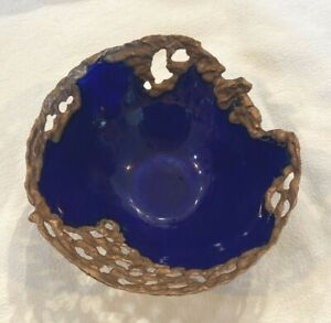 Artisan Bowl, Enamel on Copper Hand-Fired Melted Rim, Blue
