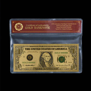 WR US $1 One Dollar Bill Note Silver Certificate 24K GOLD Colored Banknote + COA