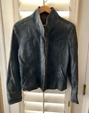 Remy Blue Soft Suede Leather Zip Up Jacket Women's Size Large