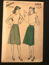 Vintage 1940s Advance Ladies Gored A Line Skirt Sewing Pattern #3845 Waist 24