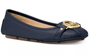 New Michael Kors fulton Ballet flat MK logo saffiano leather Moc Admiral shoes