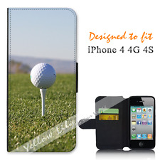 Apple iPhone 4 4G 4S Wallet Flip Phone Case Cover Tee Up Golf Y00865