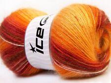 Lot of 4 x 100gr Skeins Ice Yarns ANGORA ACTIVE (25% Angora) Wool Red Orange ...