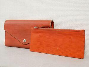 Louis Vuitton Epi Portofeuil Josephine Tri-Fold Wallet Orange M60170 #4510P