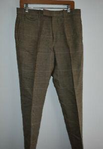 Polo Golf Men's Brown Plaid Size 32/32 58% Linen 22% Cotton 20% Lyocell Pants