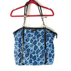 Betsey Johnson Handbag Shoulder Bag Leopard Print Faux Leather Trim Blue