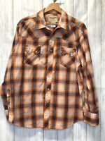 Wrangler Western Fashion Pearl Snap Short Sleeve Shirt Orange Plaid Men's XL