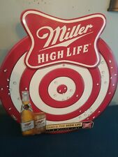 (Vtg) miller high life beer dart board tin can bottle sign game room archery mib