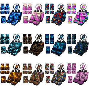 12/14pcs Butterfly Car Floor Mats Combo with Car Seat Covers for Women Seat Belt