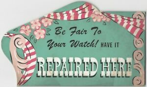 Watch Repair - 1940s Retail Store Standing Counter Card Retail Promotion