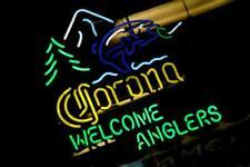 "Corona Light Welcome Anglers Neon Sign For Beer Bar Pub Real Neon24""X20""K514"