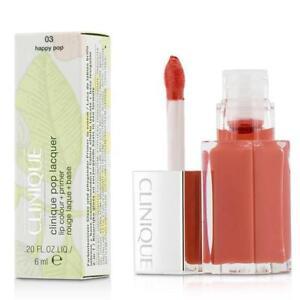 NIB CLINIQUE Pop Lacquer Lip Colour + Primer 03 HAPPY POP .20 fl oz