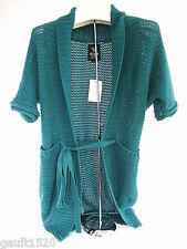 NWT Guess Los Angeles Designer Teal Lake Cotton Belted Sweater Cardigan M $98