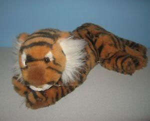 "16"" Laydown Orange Black Bengal Tiger Cuddle Buddy Stuffed Plush Jungle Animal"