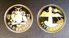 BARBADES 5 CENTS 1973 PROOF