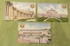 Lot 3 Antique 1909 Alaska Yukon Pacific Exposition Expo Color Glitter Postcards