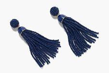 J Crew Beaded Tassel Statement Earrings NWT $65  in Night Sky Navy