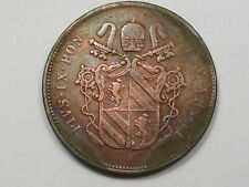 Papal States Coin: 1851 2 Baiocchi (Cleaned). Pope Pius VI.  #68