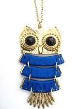 Tono Oro Retro VINTAGE STYLE Azul Sabio Búho Colgante Collar de cadena larga y