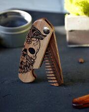 Folding Wooden Beard Moustache Comb Engraved Skull Sugar Skull
