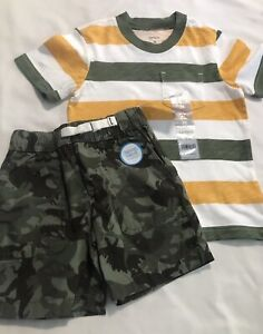 Carter's Toddler Boy's Striped Pocket Tee And Dinosaur Shorts 2T NWT