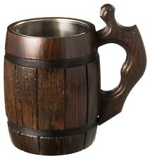Handmade Beer Mug Wood Stainless Steel  Eco-Friendly 0.6L 20oz Barrel Brown