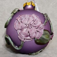 Christmas Ornament KATHERINE'S Glass Ball Fabric Flower Purple VHTF USA SELLER