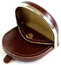Mens Leather Money / Coin Tray / Holder / Wallet with Silver Metal Rim