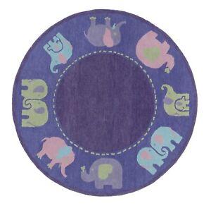 Kids Elephant 5 'x 5' Round Modern Hand-Tufted 100% Wool Area Rug Carpet.