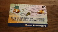 OLD AUSTRALIAN TELECOM PHONECARD, $5 8 DIGIT CHRISTMAS