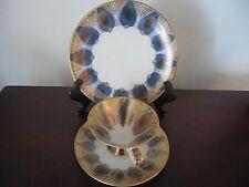 Antique BAVARIA ELFENBEIN PORZELLAN Trio Set Gold/Blue Teacup&Saucer&match.Plate