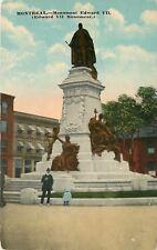 Montreal Quebec~Monument Edward VII~Little Girl Sits on Edge~1912 Postcard