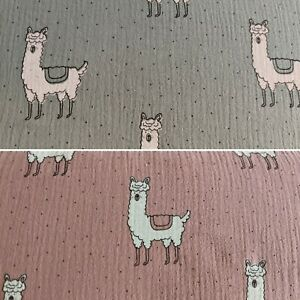 Llama Cotton Muslin Double Gauze Fabric Sage Green and Dusky Pink Baby Nursery