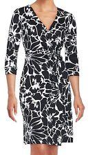 $398 NWT DVF New Julian Two Dahlia Black Wrap Dress sz 0