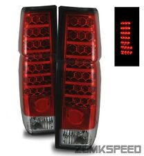 For 86-97 Nissan Hardbody/D21 Pickup Euro Red Clear LED Tail Lights Brake Lamps