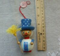 Steinbach wood snowman ornament, tag attached GERMANY