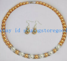 Pretty 8-10mm Yellow & White Shell Pearl Round Gemstone Beads Necklace Earrings